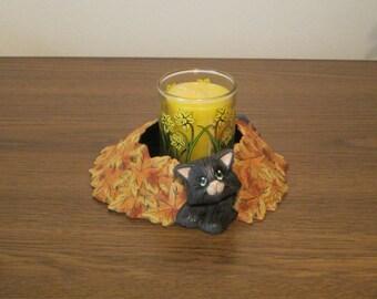 Ceramic Autumn candle holder with black cat