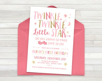 Twinkle Twinkle Little Star Invitation - Pink and Gold - Birthday invitation - Customizable - Printable