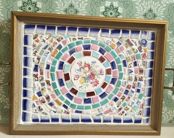 Vintage Broken China Mosaic Serving Tray