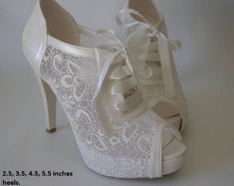 Wedding shoes, Bridal shoes, Bridesmaid shoes, Bride shoes, Handmade shoes, GUIPURE lace, ivory /pearl white color and Via FedEx