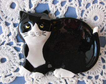 Tuxedo Black and White Cat Ceramic Teabag Holder, Spoon Rest or Trinket Dish
