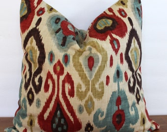NEW- Decorator Pillow Cover -Ikat - Blue- Red- Yellow-Brown