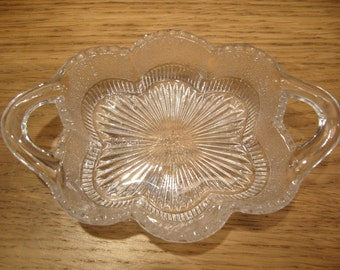 Antique 1875 Sowerby Glass scalloped sweet dish with loop handles