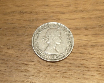Vintage 1960s British florin or two shilling coin, 1965 Queen Elizabeth II second coinage