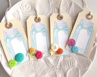 Mason Jar gift tags Hang tags, Scrapbook embellishments Canning Jar tags Paper Tags Appliqued tags Button tags Place Cards Gift toppers