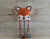 FOX Hat - Crochet Fox Hat - Girl Fox Hat - Woodland Animal Hat - Animal Hat - Photo Prop - Hats for Kids - Fun Hats