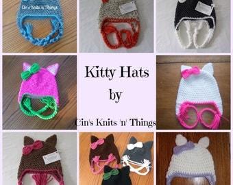 Kitty Hat - Cat Hat - Kitty Cat Hat - Kitty Ears - Animal Hat - Crochet Hat - Kids Hat