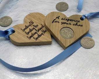 Oak Heart Silver Sixpence for your shoe wedding gift
