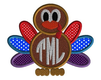 Thanksgiving embroidery design, turkey monogram frame, holiday applique, 3 size instant download, no fonts included with this design