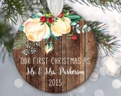 Our First Christmas as Mr & Mrs Ornament, Floral Rose, Wood, Personalized Christmas Ornament, Bridal Shower Gift Bride and Groom Gift OR804