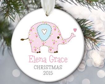Elephant Baby Girl ornament, Baby's First Christmas Ornament, Personalized Christmas Ornament, Baby's 1st Christmas Child's Kid's Gift OR676