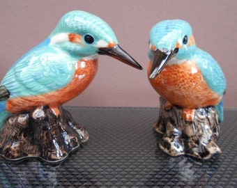 Kingfisher Salt and Pepper Shakers Hand Painted Green Kingfisher Salt and Pepper Pots
