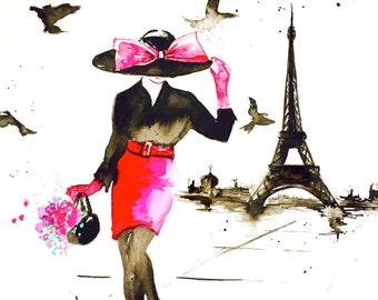 Pink Parisian Fashion Illustration - Art Print from Watercolor Painting - Lana Moes Art - Wanderlust Illustration - Chanel