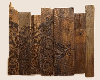 Original Artwork: Tilda Mandala, Pyrography on Barnwood