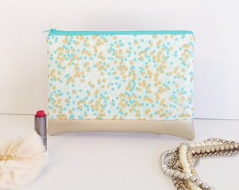 Large Zipper Pouch, Metallic Gold Clutch, Polka Dot Bag, Makeup Case, Stocking Stuffer, Gift for Friend, Gift for Sister, Gift Under 25