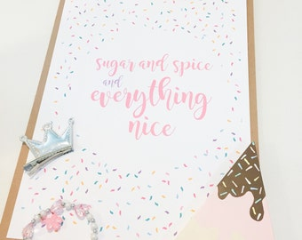 Everything nice - Girls room wall art -  A4 printed poster