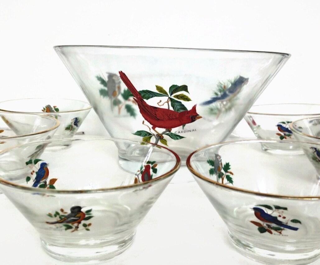 Vintage glass salad bowl set with bird decals large