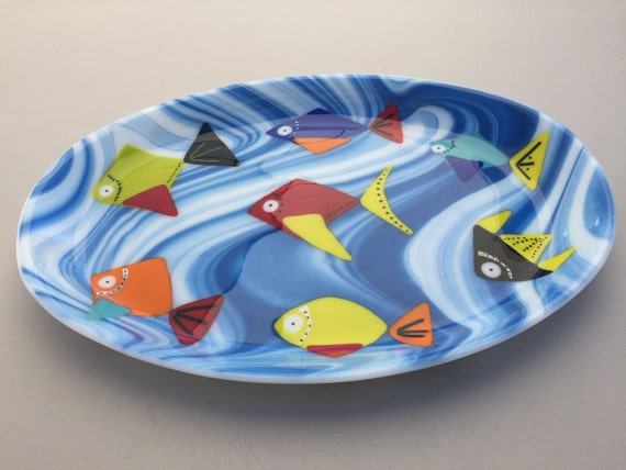 Tropical Fish Fused Glass Platter