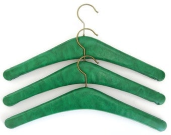 Vintage clothes hangers green faux leather, Set of 3