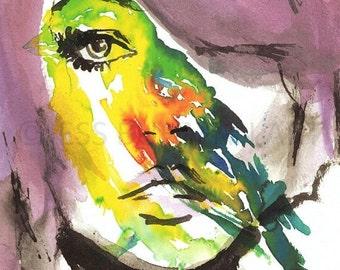 HUGE SALE Watercolor Portrait Print, Portrait of a Woman Painting, Watercolor Woman, Watercolor Painting, Print of Woman, Fashion Illustrati