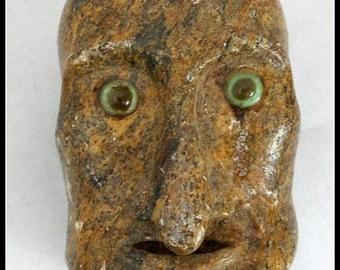 Vintage Rock Carving of Head