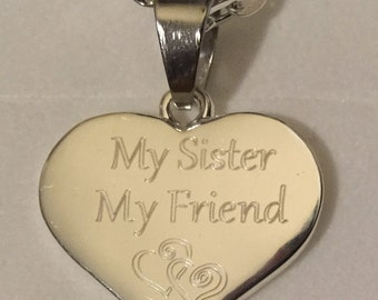 Engraved personalised gift from sister to sister friend heart necklace gift