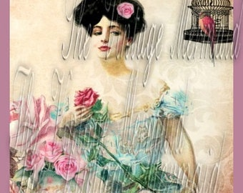 Victorian Lady Cotton Quilt Patch Vintage Birdcage Pink Roses Ephemera Art Craft Material Square