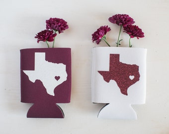 College station Love Glitter Texas Can Cooler