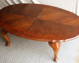 Vintage SOLID Mahogany Wood Wooden Side Coffee Accent Table Oval Cabriole Legs