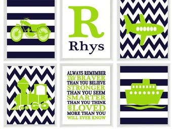 Transportation Nursery Prints, Personalized Art, Always Remember Quote, Lime Green Navy, Motorcycle, Train, Plane, Boat, Toddler Room