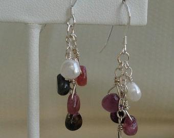 Tourmaline and Pearl Dangle Earrings