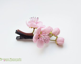 Hair clip Sakura Cherry Blossom Peach - Polymer Clay Flowers