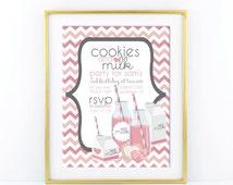 Milk & Cookie Birthday Invitation - Modern, Contemporary Kids birthday Invitation - Printable, Digital