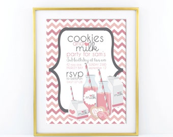 Milk & Cookie Birthday Invitation - Modern, Contemporary Kids birthday Invitation - Printable, Digital