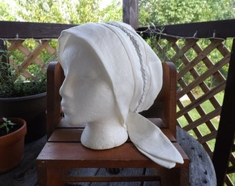 Winter white 100% Linen Pull-On Snood Cap Head Cover with Silver Ribbon Trim and Tie Closures