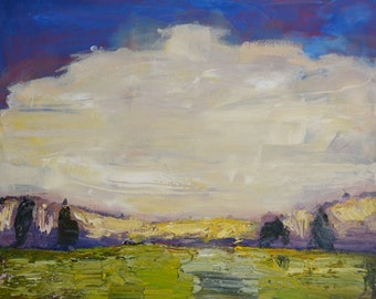 Oil painting skyscape landscape purple trees abstract loose large