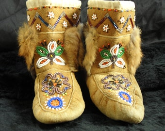 1950s Child's Beaded Ankle Mocassins