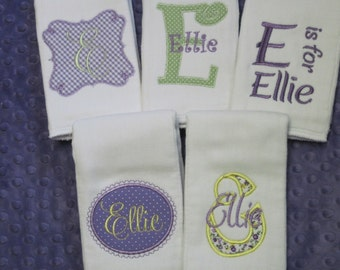 SET of FIVE Personalized Baby Girl MINI Burp Cloths