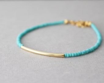 Gold bar bracelet - friendship bracelet - Turquoise