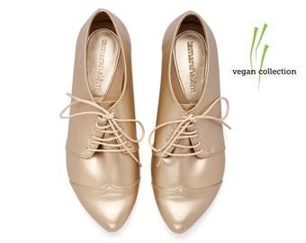 VEGAN  handmade Gold oxford shoes  by Tamar Shalem on etsy