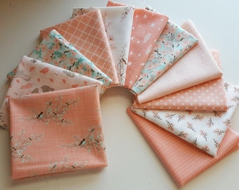 Moda Lullaby Peach (pink) Fat Quarter Bundle - Kate and Birdie Paper Co (11 prints, 2.75 yards total)
