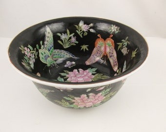 Butterflies and Moths - HFP Macau Bowl, Made in China - Heavy , Hand-painted, Large Black Bowl -  Incised and Enameled - Marked Bottom