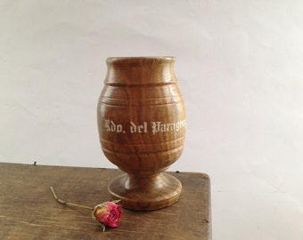Vintage wooden mortar Apothecary Herbal solid wood mortar Footed wooden mortar