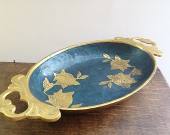 Vintage brass enamel tray Blue golden bowl with roses Decorative Candy Dish Trinket Tray Floral tray with handles
