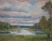 """Original Pastel Landscape Painting - """"Moody Skies"""" by Colette Savage, Rochester NY, Mendon Ponds Park, canoeing Pittsford NY"""