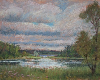 "Original Pastel Landscape Painting - ""Moody Skies"" by Colette Savage, Ruochester NY, Mendon Ponds Park, canoeing Pittsford NY"