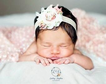 Baby Headband..baby..Vintage Floral Headband..Newborn Headband..Baby Girl Headband..Headband..Infant Headband..Baby Headband.Flower Headband