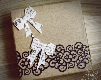 Add gift box! Recycled paper jewelry box. Gift idea for S. Valentines, anniversary, birthday wedding...