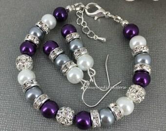 White Dark Purple and Grey Bracelet Purple Bracelet Pearl Bracelet Budget Jewelry for Bridesmaid Gift Grey Bracelet Jewelry Gift for Her