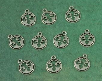 Silver Fleur de Lis Silhouette Tag Charms - Package of 10 pieces